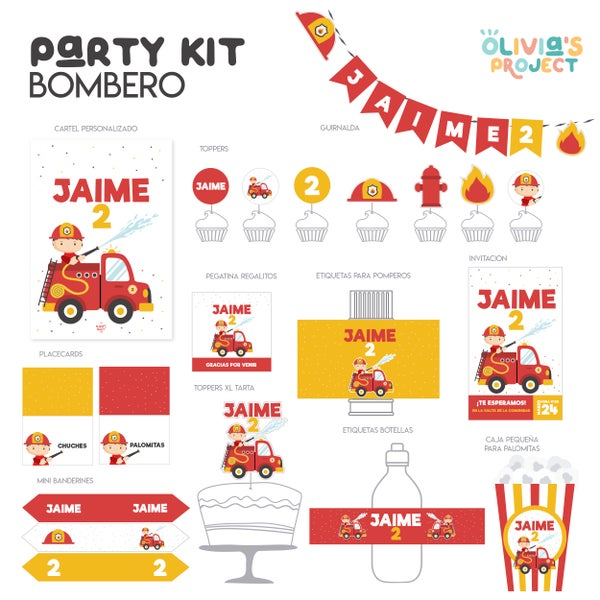 Image of Party Kit Bombero Impreso