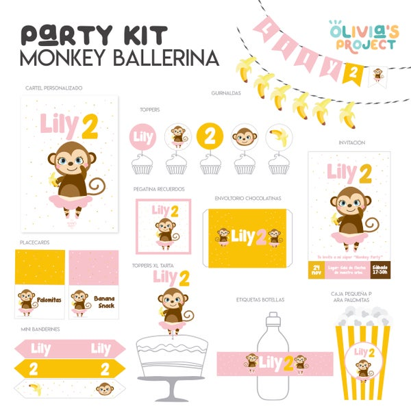Image of Party Kit Monkey Ballerina Impreso