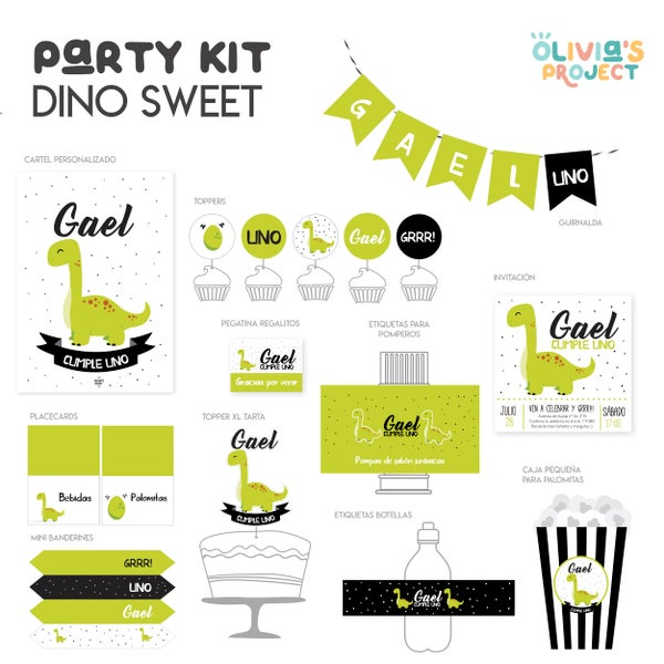 Image of Party Kit Dino Grrr Impreso