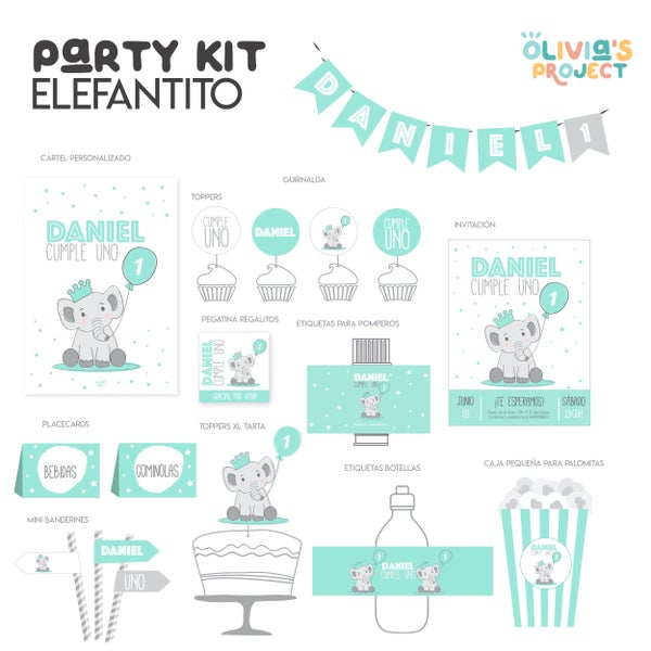 Image of Party Kit Elefantito Impreso