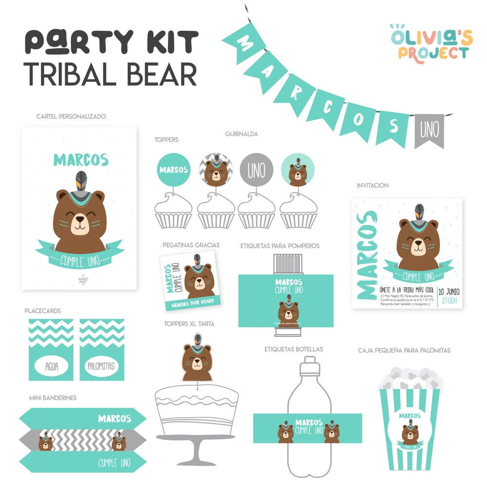 Image of Party Kit Bear Tribe Impreso