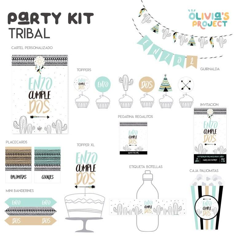 Image of Party Kit Tribal Impreso