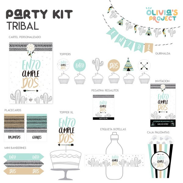 Image of Party Kit Tribal Impreso
