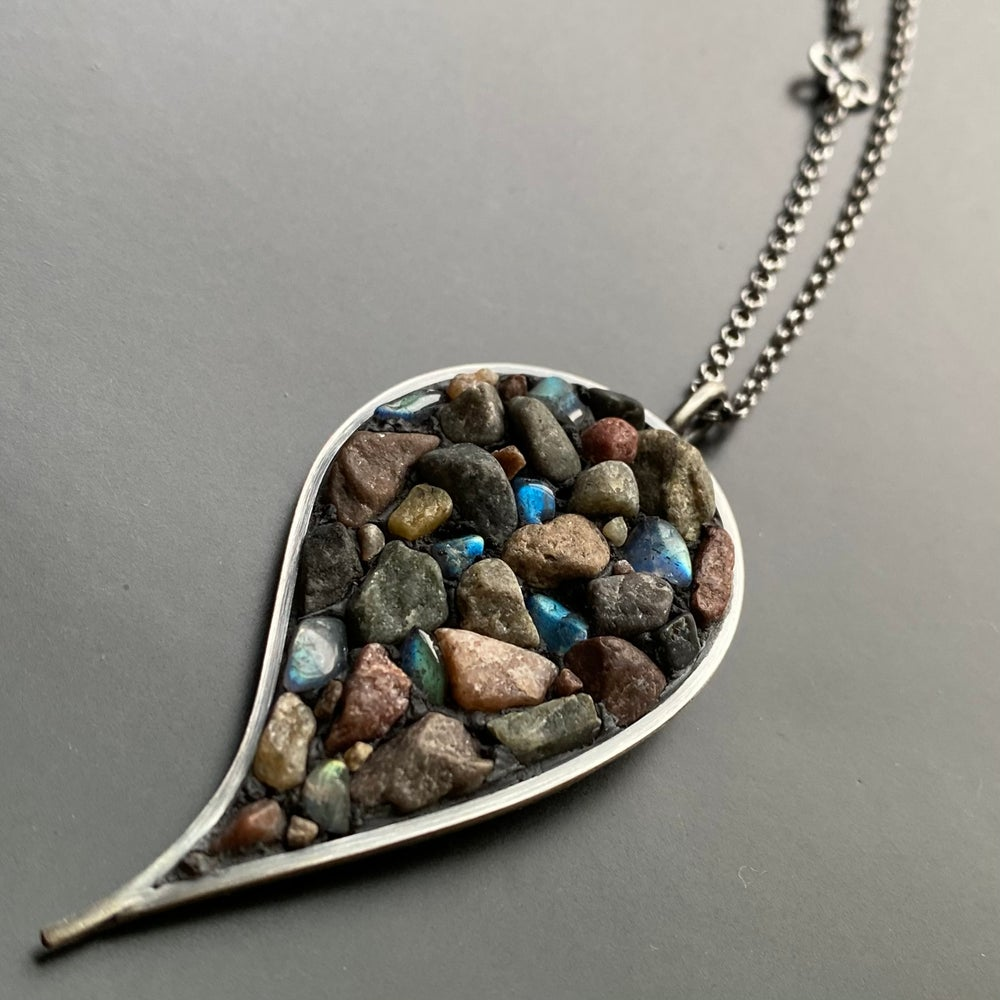 Image of Leaf and Swirl River Rock Micro Mosaic Necklace