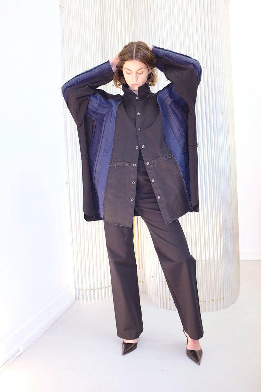 Image of Shirt 3 - Cotton - Black/Blue