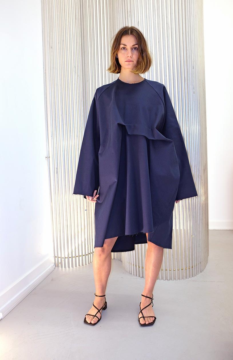 Image of Dress 1 - Cotton twill - Dark blue