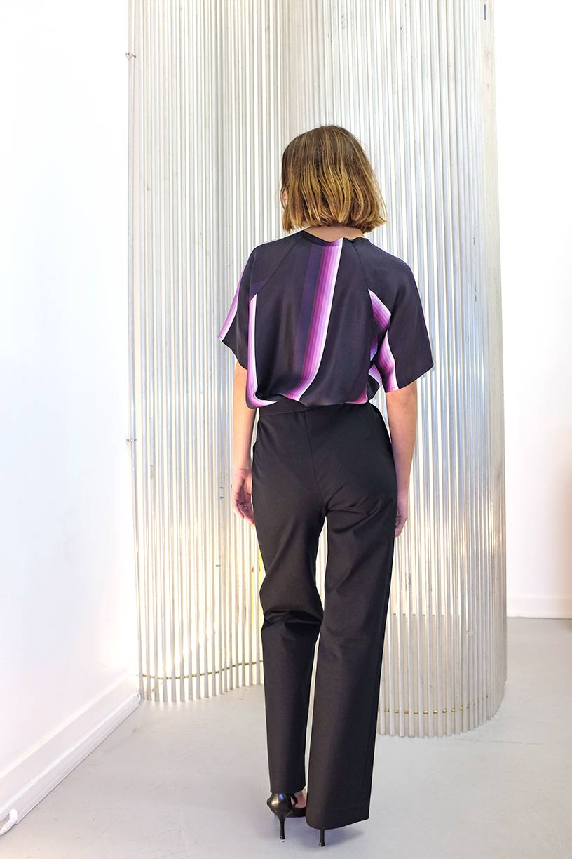 Image of T-shirt 2 - Silk - Purple Stripe