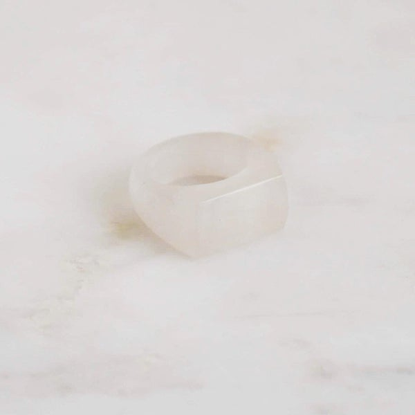 Image of Natural Clear Quartz signet ring