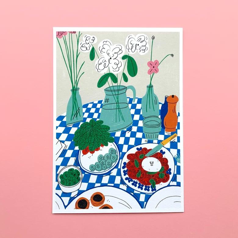 Image of Burrata and Radishes A4 Print