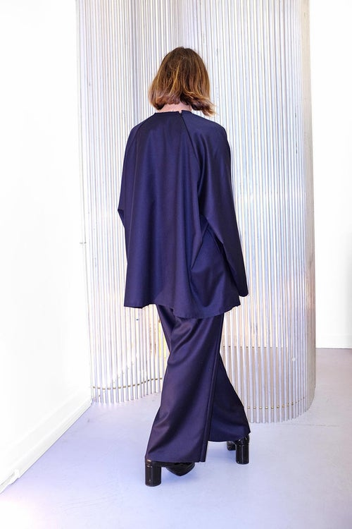 Image of OF 1 Trousers WIDE - Wool - Navy