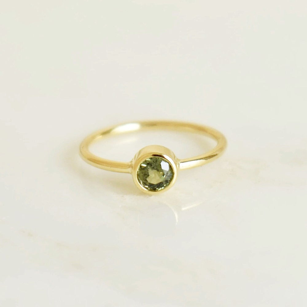 Image of Natural Tanzania Green Sapphire round cut 14k gold ring