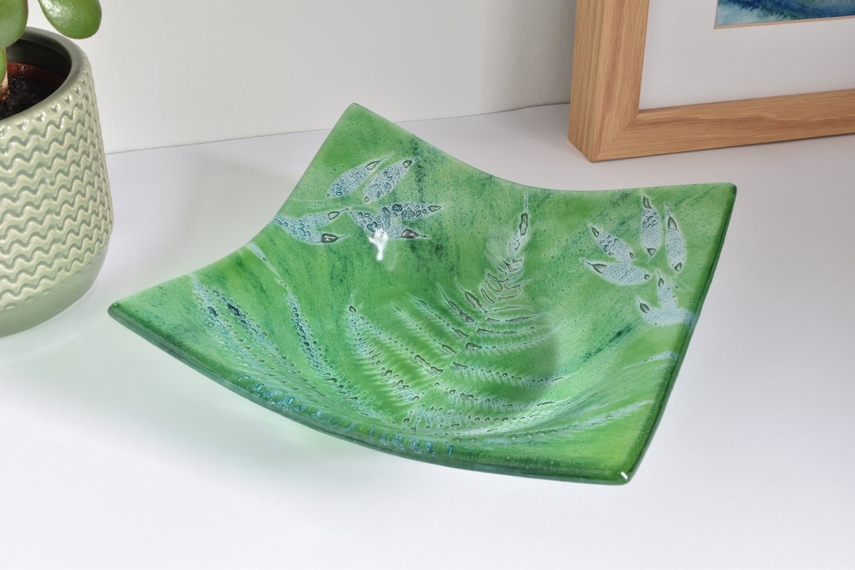 Image of Green Fern and Leaf Small Square Bowl