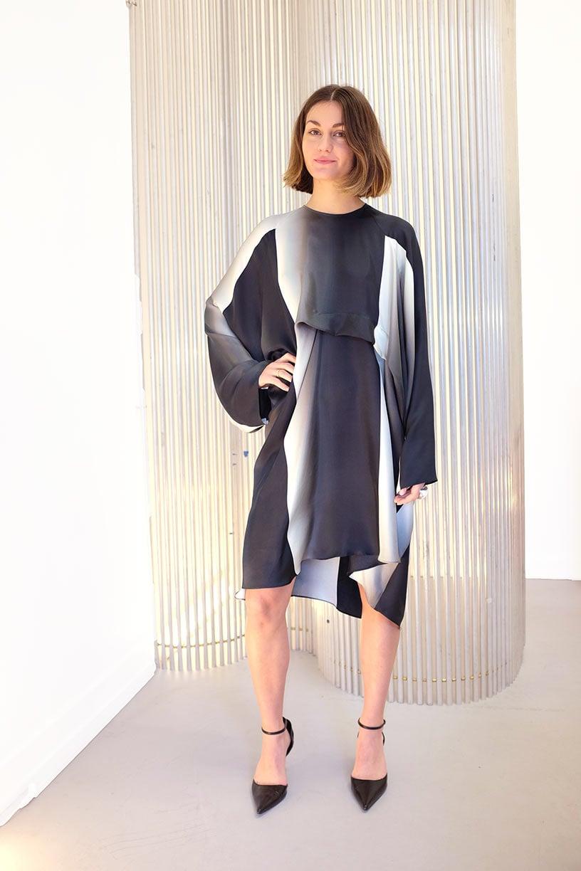 Image of Dress 1 - Silk twill - Striplight