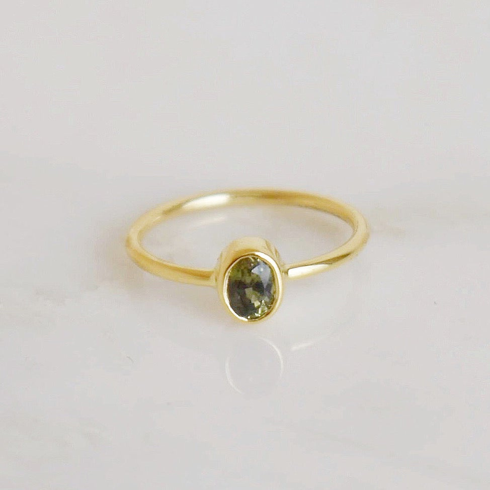 Image of Natural Tazania Green Sapphire oval cut 14k gold ring