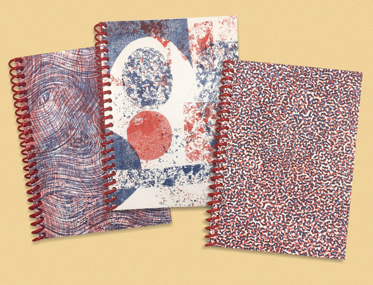 Image of SMALL SPIRAL NOTEBOOK - RED AND BLUE