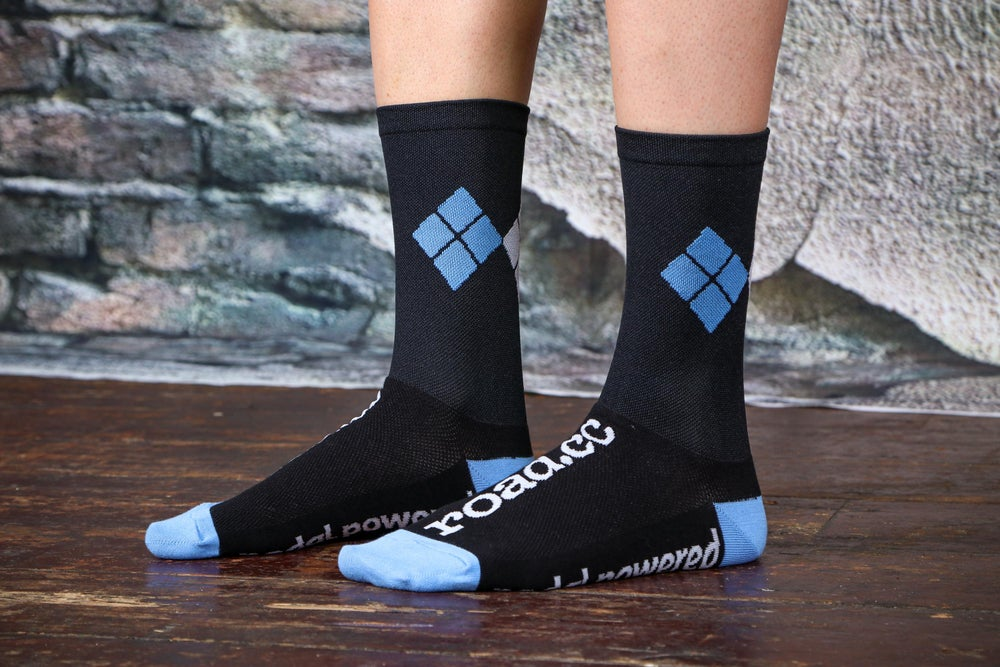 Image of road.cc argyle socks - black