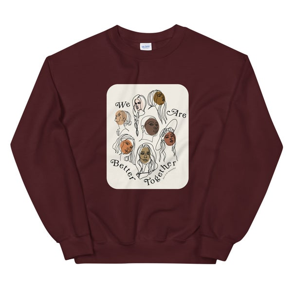 Image of Better Together Crewneck Sweatshirt - Maroon