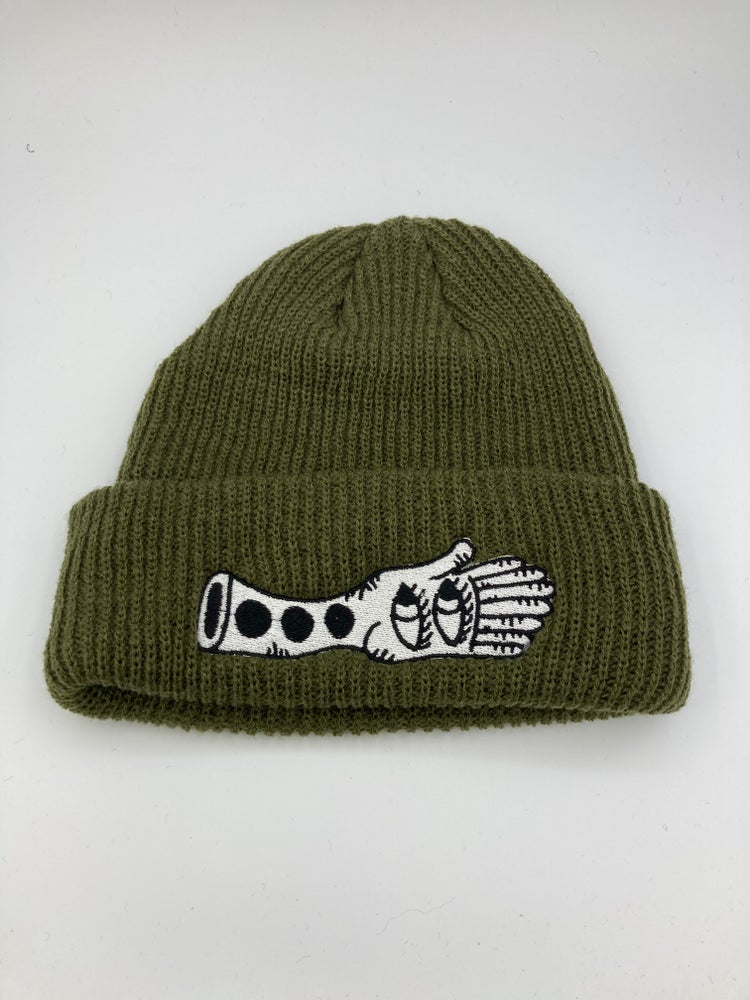 Image of Olive green hand beanie