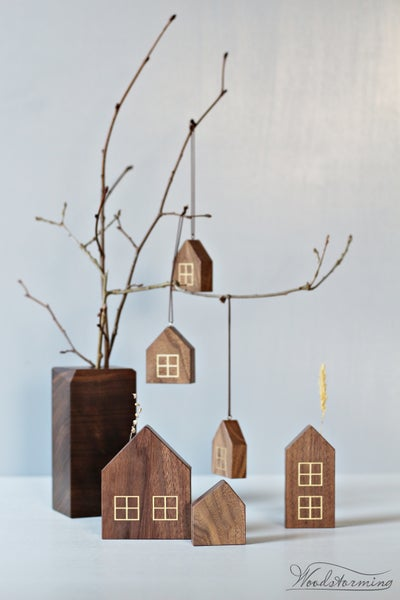 Image of Christmas home decorations - miniature houses for display and hanging and unique vase - set of 7
