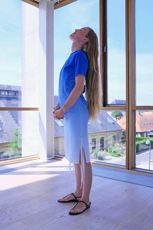 Image of Shift Dress - Organic Jersey - Blue Gradient
