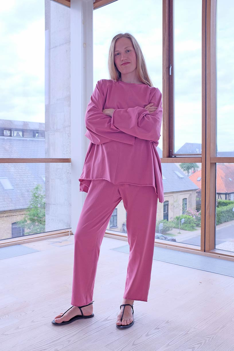Image of OF1 Trousers - Organic Jersey - Raspberry