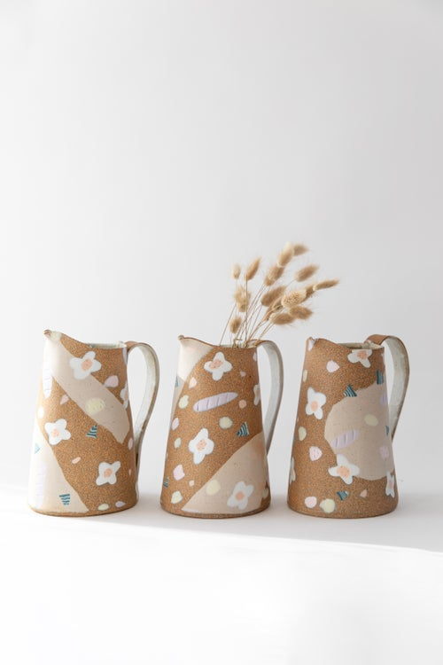 Image of Candy Pastel Flowers on Toasty Clay - Large Pitcher