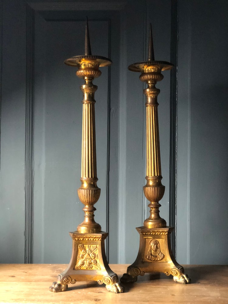 Image of Large Victorian altar candlesticks