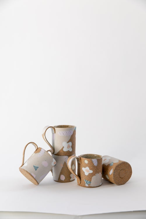 Image of Candy Pastel Flowers on Toasty Clay - Handled Mug