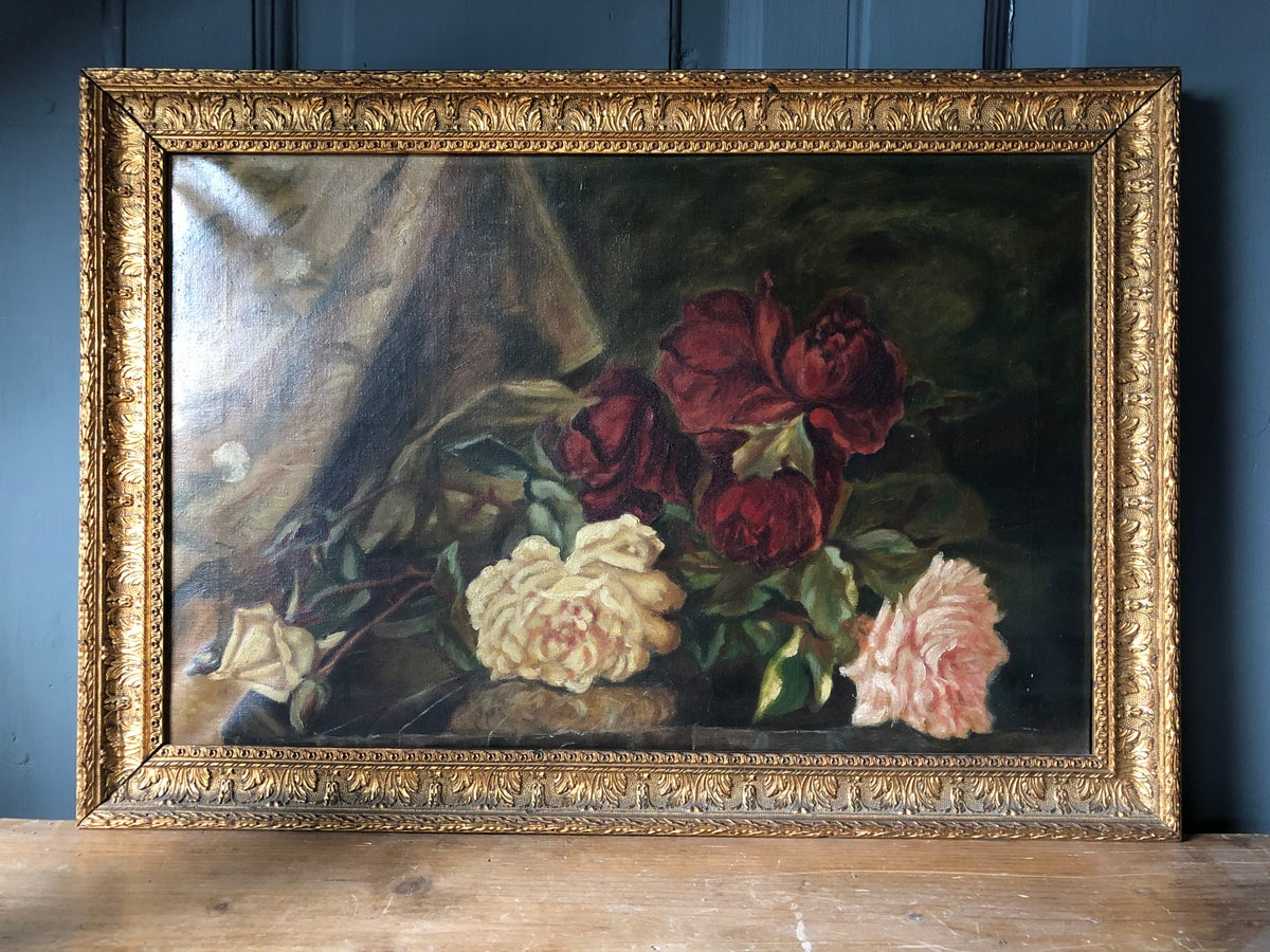 Image of Old oil painting of roses 1916