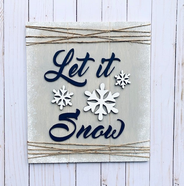 Image of Let It Snow Faux Shiplap Sign - Craft at Home Kit