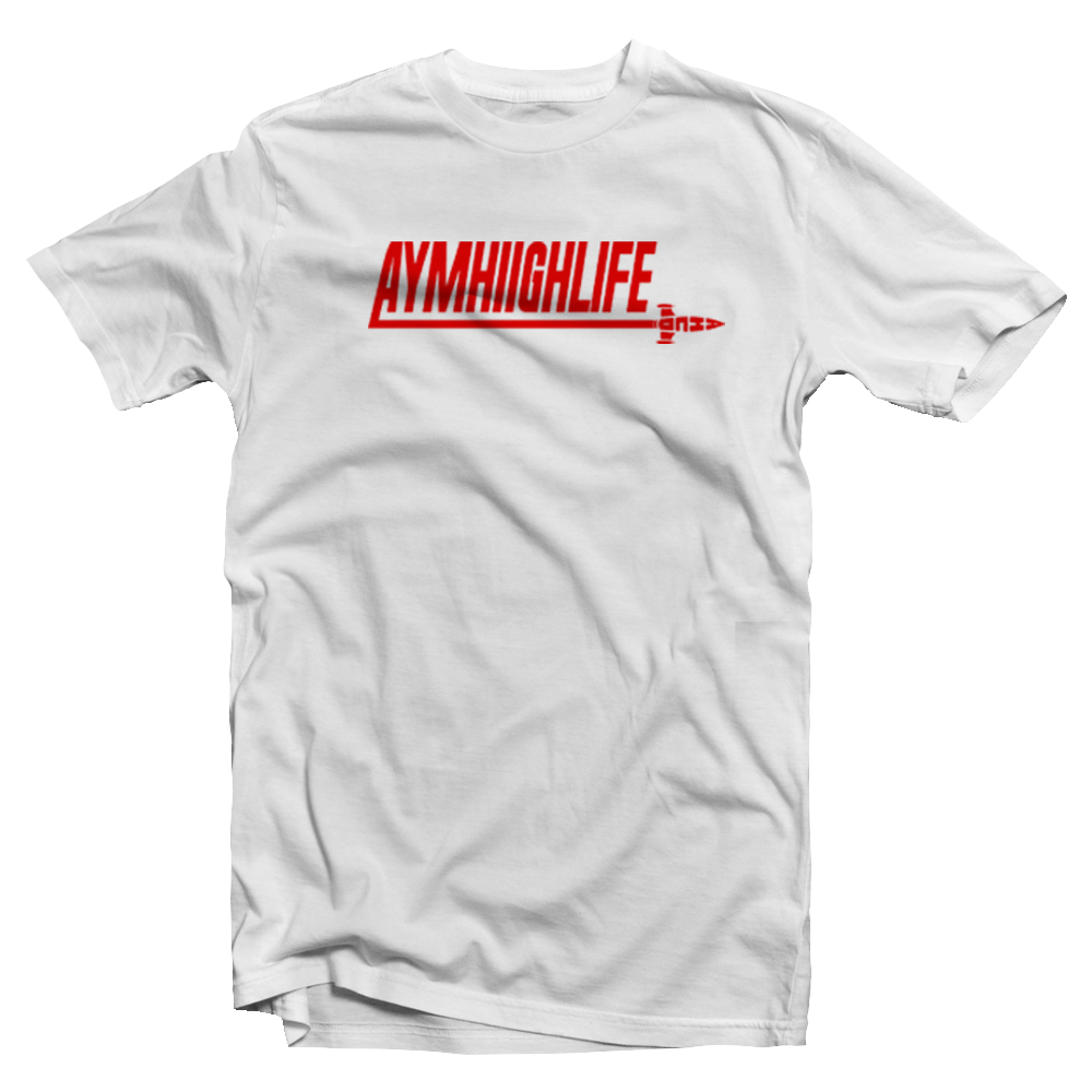 """Image of AYMHIIGHLIFE ROCKET OUT T-Shirt """"White/Red"""""""