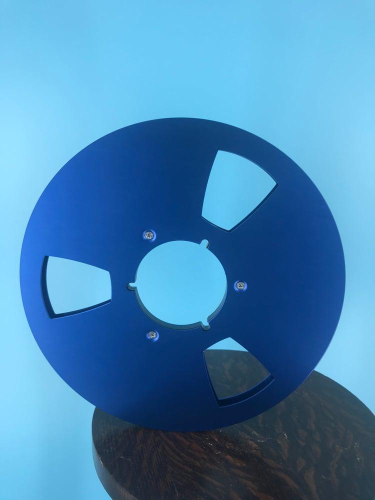 "Image of Burlington Recording 1/2"" x 10.5"" BLUE NAB Aluminum Metal Reel with White Hinged Set up Box NEW"