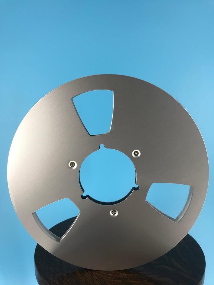 "Image of Burlington Recording 1/2"" x 10.5"" SILVER NAB Aluminum Metal Reel with White Hinged Set up Box NEW"