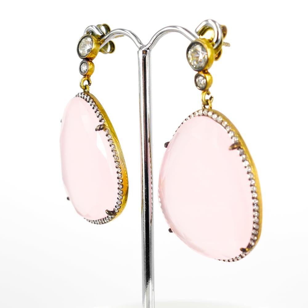 Image of Large rose quartz statement earrings. M2502