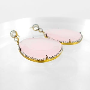 Image of Large rose quartz statement earrings. M2502
