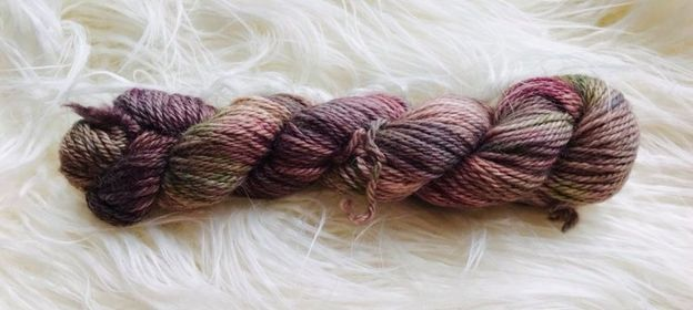Image of Hand Dyed 8ply Alpaca Yarn- Purple Storm and Garden Green