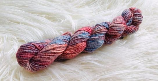 Hand Dyed 8ply Alpaca Yarn Sunset Delight and Blue Sky Days