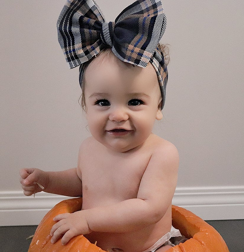 Image of Plaid headwrap bow