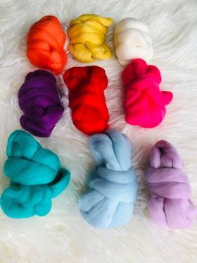Nine Pack of Colourful Wool Roving