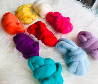 Image of Nine Pack of Colourful Wool Roving