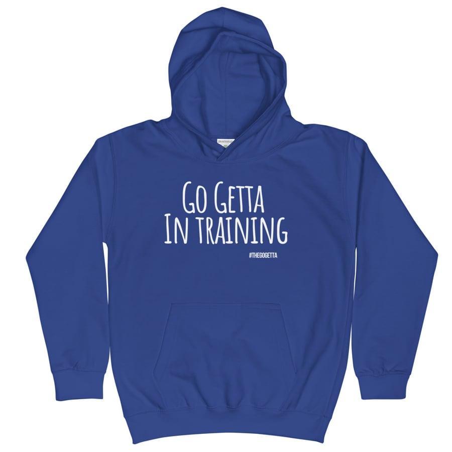 Image of Go Getta In Training Kids Hoodie (Black, Blue)