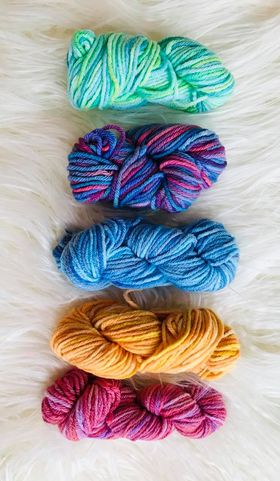 Image of Hand Dyed 8ply Wool Five Pack