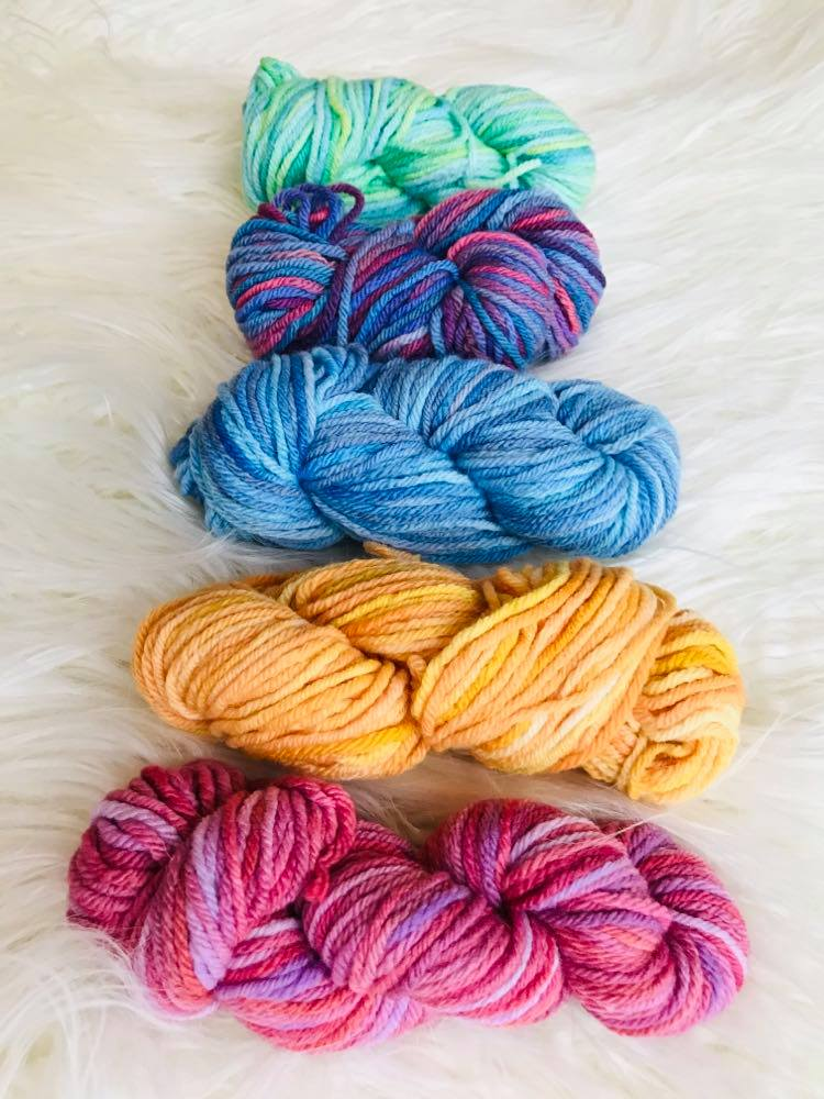 Hand Dyed 8ply Wool Five Pack