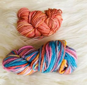 Hand Dyed Two Pack of 8ply Wool