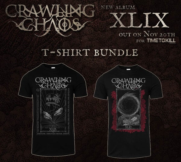 """Image of CRAWLING CHAOS  - """"The Emperor""""  + """"The  Chariot"""" T-shirt - PRE ORDER"""