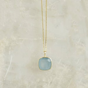 Image of Natural Aquamarine cushion cut 14k gold necklace