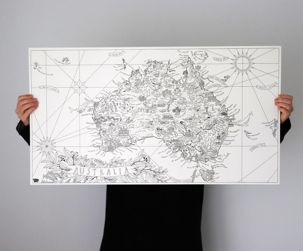 Image of Map of Australia - Colour in Poster