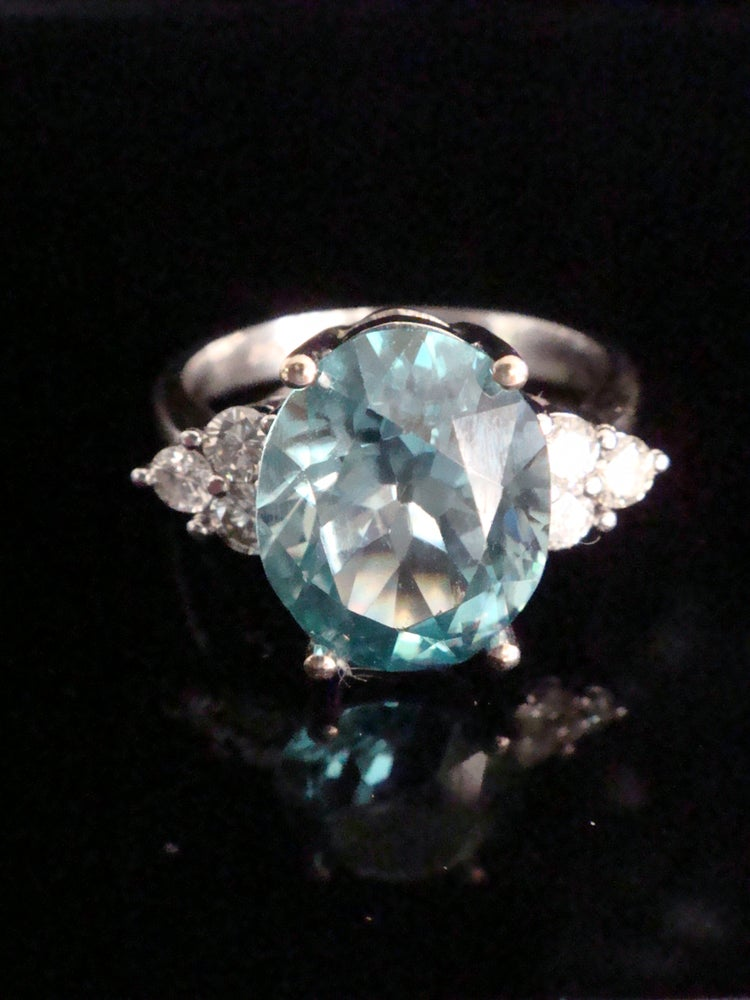 Image of Modern 18ct white gold natural blue zircon 4.50ct and diamond 0.34ct ring