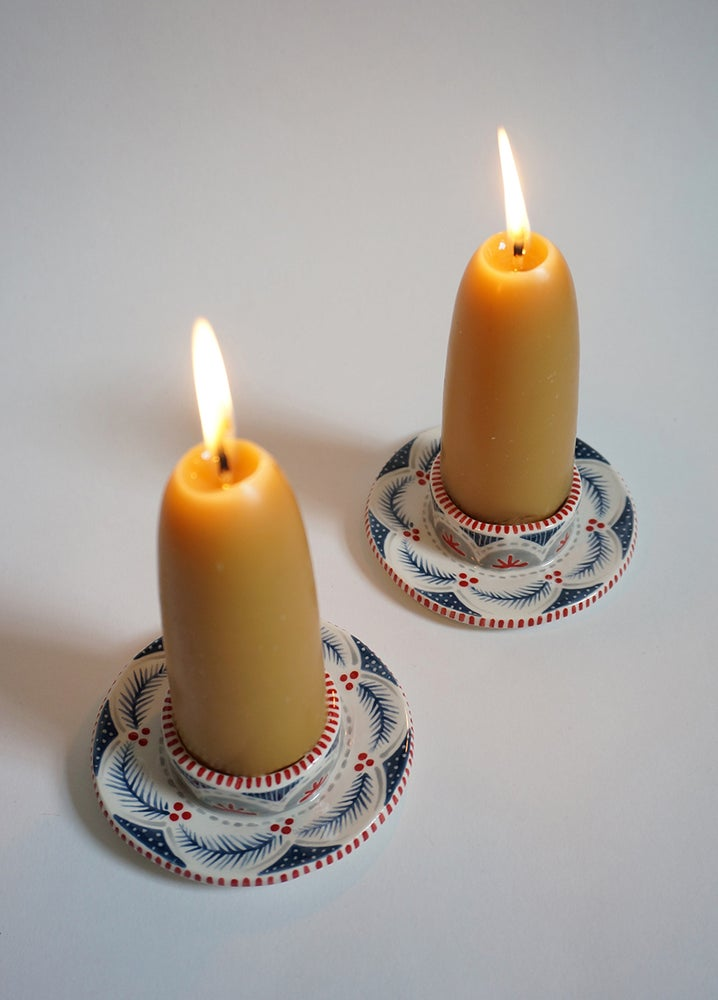 Image of Fir Garland Candle Holders - Set