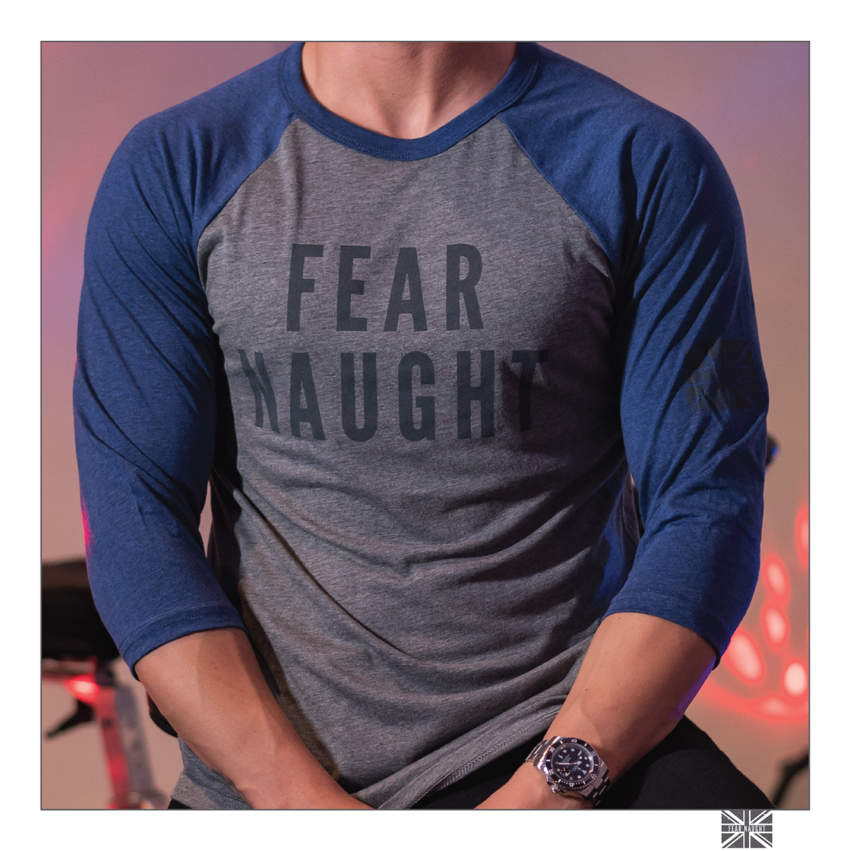 Image of Fear Naught Baseball Tee Grey/Blue